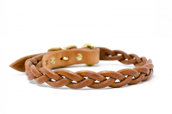 Lederhalsband für kleine Hunde, geflochten, pflanzlich gegerbt