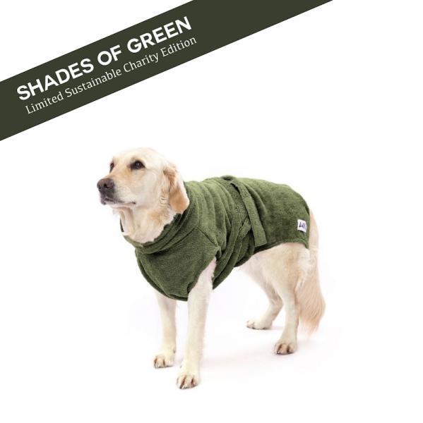 "Hundebademantel aus Bio-Baumwolle ""PINE GREEN"" [limited]"