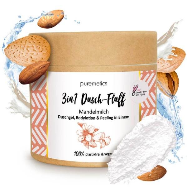"""3in1 Dusch-Fluff mit Zuckerpeeling """"Mandelmilch"""""""