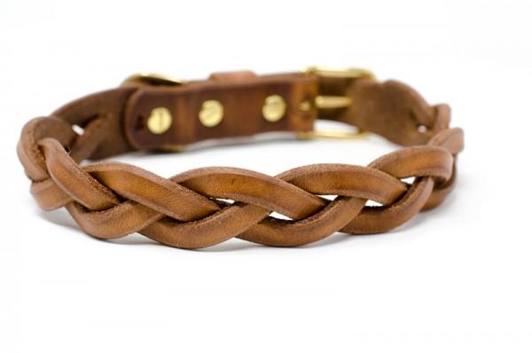 Lederhalsband, 3-fach geflochten