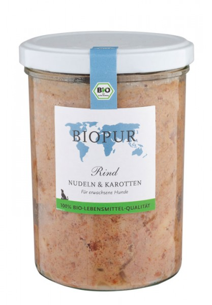 Rind, Nudeln, Karotten im Glas