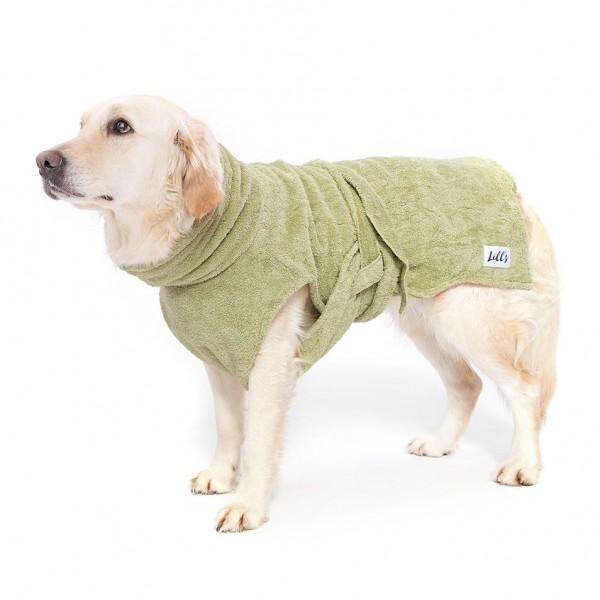"Hundebademantel aus Bio-Baumwolle ""Green Leaf"""